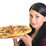 hermosa chica comiendo pizza para comer aislado en blanco — Foto de Stock   #13123438