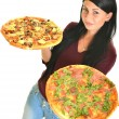 Beautiful girl eating pizza for lunch isolated on white — Stock Photo