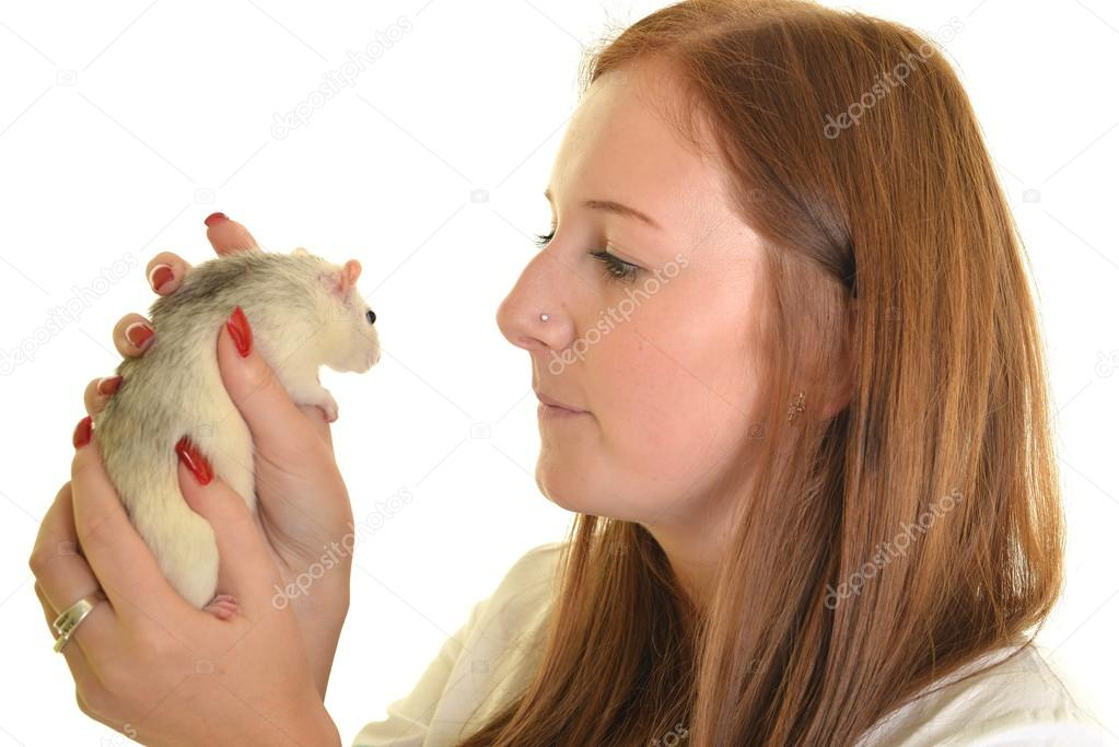 Woman kissed rat — Stock Photo #13381373