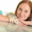 Woman with her pet rat — Stock Photo