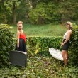 Stock Photo: Retro women in garden