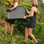 Retro women portrait with suitcase — Stock Photo #13505041