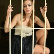 Sexy woman behind bars - Stock Photo