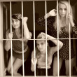 Women in prison. Retro portrait. - Stock Photo