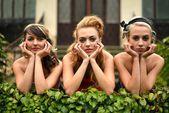 Three retro woman — Stock Photo