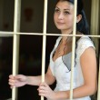 Bride in prison - Stock Photo