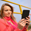 Royalty-Free Stock Photo: Picture of happy teenage girl with tablet pc computer