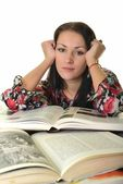 Young female holding an open book. Woman reading. — Stock Photo