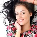 Woman with beauty long black hair - posing at studio — Stock Photo #14515069