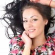 Stock Photo: Woman with beauty long black hair - posing at studio