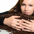 Coffee. Beautiful Girl in Coffee — Stock Photo
