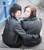 Outdoor portrait of a punk couple — Stock Photo
