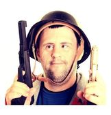 Man with down syndrome soldier — Stock Photo