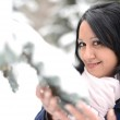Snow winter woman portrait outdoors on snowy white winter day. — Stock Photo #17084825