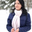 Snow winter woman portrait outdoors on snowy white winter day. — Stockfoto