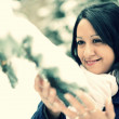 Snow winter woman portrait outdoors on snowy white winter day. — Stock Photo #17126121