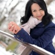 Snow winter woman portrait outdoors on snowy white winter day. — Foto Stock