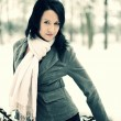 Snow winter woman portrait outdoors on snowy white winter day. — Stok fotoğraf