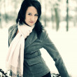 Snow winter woman portrait outdoors on snowy white winter day. — Stock fotografie