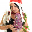 Happy woman with Santa Hat on a white background  — Stock Photo
