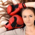 Sexy female boxer isolated on white background — Stock Photo