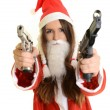 Sexy santa woman with a gun — Foto de Stock