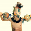 Portrait of american indian chief - Stock Photo