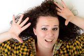 Woman with beauty long black hair - posing at studio — Stock Photo