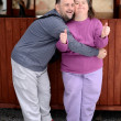 Love couple with down syndrome - Stok fotoğraf