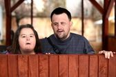 Love couple with down syndrome — Stock Photo