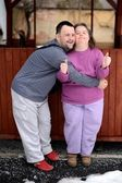 Love couple with down syndrome — Stok fotoğraf