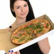 Girl eating a delicious pizza — Stock Photo #21292957