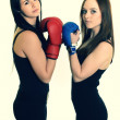 Women with boxing gloves — Stock Photo