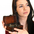 Young caucasian woman and retro jewelry box — Stock Photo