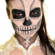 Body painting dead mask skull face art — Stock Photo