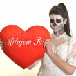 Royalty-Free Stock Photo: Young woman in day of the dead mask skull face art