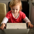 Cute child using laptop — ストック写真