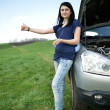 Beautiful woman sad with broken car — Stock Photo