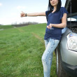 Beautiful woman sad with broken car - Stock Photo