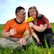 Down syndrome love couple — Stock Photo #25180777