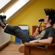 Punk boy at home - Stock Photo