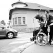 Punk boy in a wheelchair — ストック写真