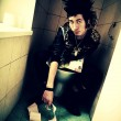 Punk boy in the toilet — Foto Stock
