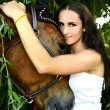 Beautiful woman and horse — Stock Photo