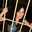 Female Criminal Behind Bars — Foto Stock