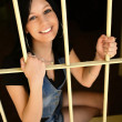Female Criminal Behind Bars — Foto de Stock