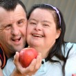 Couple with down syndrome — Stok fotoğraf