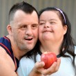 Couple with down syndrome — Foto Stock
