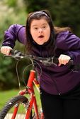 Woman Riding Trike — Stock Photo