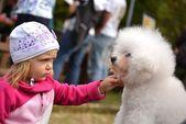 Children girl kissing her puppy — Stock Photo